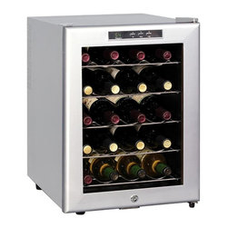 SPT Appliance - 20-Bottle Thermoelectric Wine Chiller - Fine restaurants and wine bars use professional style wine coolers like this handsome thermoelectric model in stylish platinum finish.  Ultra quiet motor operates ultra super smoothly, without using harmful refrigerants.  Adjustable temperature control features an easy-to-read LED display, and the interior is softly lit behind the tinted glass doors.  Holds twenty standard size bottles on slide-out shelves. 20 standard bottles / 48L capacity. Digital controls with LED temperature display. Environment friendly (refrigerant free). Quiet operation (30dBA). No vibration (bottle sediment is not disturbed). Temperature display in �F or �C. Slide-out shelves. Tinted double pane insulated glass door. Platinum trim and cabinet. Soft interior light. Front leveling leg. Adjustable temperature range: 54 - 66�F. Freestanding application. ETLRecommended temperatures for chilling wine:. Full Red (59 ~ 65�F). Light Red (54 ~ 57�F). White & Rose (46 ~ 57�F). This thermoelectric unit cannot cool below 54�F, may not be suitable for storage of champagne, sparkling and white wines. Input voltage: 115V / 60Hz. Capacity: 20 bottles / 48 liters. Input power: 70W. Power consumption: 1.0kWH/24hr. Color: Platinum. Temperature range: 54 ~ 66�F. Operating temperature: 50 ~ 89�F. Maximum temperature variance: 55.4�F between ambient and unit. Unit dimension: 15.75 in. W x 20.2 in. D x 21.6 in. H (30 lbs.)20 standard bottles capacity with removable shelves. Tinted double pane insulated glass door with platinum trim and cabinet. Stylish design and compact size looks great in the kitchen or entertainment area. Digital controls with LED temperature display. ThermoElectric Technology (no compressor) offers a quiet operation with no vibration. Adjustable temperature between 54 to 66�F.