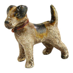 HomArt - Cast Iron Woody the Terrier Sculpture - Decorate your home with the Cast Iron Woody the Terrier Sculpture. Made from cast iron in a distressed brown and black finish with yellow accents, this sculpture makes a charming addition to both outdoor and indoor spaces. Display it on your desk or windowsill for an easy rustic look.