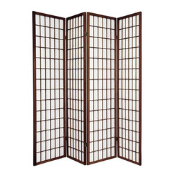 Oriental Furniture - 6 ft. Tall Window Pane Shoji Screen - Walnut - 4 Panels - One of the most popular room dividers, the Window Pane Shoji Screen features a classic design versatile enough to complement any style of decor. Hand constructed from Scandinavian Spruce and fiber-reinforced Shoji rice paper, these screens are durable, lightweight, and easy to fold up and move. This room divider will meet your decorating needs. Every room has a space for one of these screens.