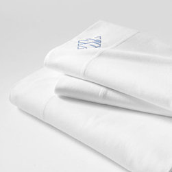 Knit Sheet Set - I love the monogrammed simplicity of these.