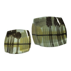 """IMAX CORPORATION - Arbor Creek Chargers - Set of 2 - Contrasting tree silhouettes reflecting in calm waters adorn this set of two Arbor Creek charges in subtle green shades. Food safe. Set of 2 in various sizes measuring around 21.75""""L x 21.75""""W x 5.75""""H each. Shop home furnishings, decor, and accessories from Posh Urban Furnishings. Beautiful, stylish furniture and decor that will brighten your home instantly. Shop modern, traditional, vintage, and world designs."""