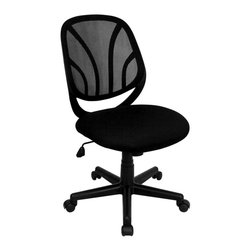 Flash Furniture - Mid Back Mesh Computer Task Chair in Black - Flex-back conforms to natural curvature of the back. Well padded mesh fabric seat. Pneumatic seat height adjustment. Tilt-lock mechanism. Tilt tension adjustment. Heavy duty nylon 5-star base. Dual wheel casters. Warranty: 2 years limited. Assembly required. Back: 18.5 in. W x 19 in. H. Seat: 20 in. W x 19.5 in. D. Seat Height: 17 - 20.75 in.. Overall: 26 in. W x 25 in. D x 34.75 - 38.5 in. H (29 lbs.)