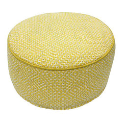 Nuloom - nuLOOM Handmade Casual Living Indian Diamond Yellow Round Pouf - Enhance your decor with this stylish modern pouf made of this soft felt.