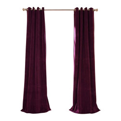 Exclusive Fabrics & Furnishings, LLC - Signature Eggplant Grommet Blackout Velvet Curtain - 100% Poly Velvet. Grommet. Plush Blackout Lining. Imported. Dry Clean Only.