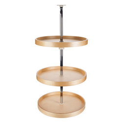 Hardware Resources - 18-Inch Round Banded Lazy Susan Set with 3 Shelves - 18 Round Banded Lazy Susan Set (3 Shelves) Includes 3 shelves  1 mounting pole  mounting hardware  and instructions. Lazy susan shelf is made from Poplar plywood with smooth UV tray surface. The trays have a 1 inside rim height and 1 9/16 overall height. Stainless steel pole and beige polymer hubs  adjustable for cabinets with 38   45 3/4 interior heights.