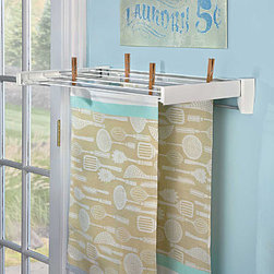 Improvements - Wall Mounted Clothes Dryer-5 Line - The Wall-Mounted Clothes Dryer has a sleek, telescoping design. This drying rack opens and closes easily to keep your room looking clean and organized. The Wall-Mounted Clothes Dryer is great for bathroom, laundry room, utility room or garage. Our Wall-Mounted Clothes Dryer is disguised as a sleek towel bar. The Wall-Mounted Clothes Dryer is ideal for holding towels every day, but when you need to air-dry hand washables, just pull out the top to use the retractable drying rails. Ideal where floor space is scarce, the Wall-Mounted Clothes Dryer can also be used on a wall outdoors for beach towels and bathing suits. The 5-line dryer provides 14 feet of drying space; up to 27-lb. capacity. The 8-line dryer offers 26 feet of drying space; up to 44-lb. capacity. Both Wall-Mounted Clothes Dryers have a white finish and stainless steel rod underneath for hanging towels.Benefits of the Wall-Mounted Clothes Dryer: