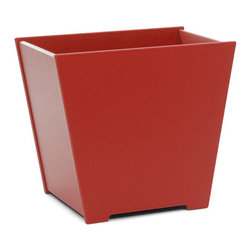 Loll Designs - Taper Planter 10 Gallon, Apple Red - The Loll Flora Collection was created to work in a variety of outdoor garden settings. The recycled and recyclable poly material is made to withstand the test of time and extreme weather. In addition, the joinery on our modern containers allow for a slow, seeping drainage and holes can easily be drilled in the bottom if desired. All pieces are flat-packed with simple, fun, and intuitive assembly.