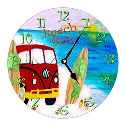 USA - Beach Bus Wall Clock - Enjoy passing time with my dye sublimated art work on a beautiful 11.25'' hard board clock with a wonderful glossy finish. Clocks are a durable 1/4 '' thick and require a AA battery not included. Made in the USA.