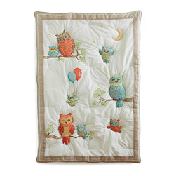 The Little Acorn - Baby Owls Quilt - Baby Owls quilt has charming hand crafted applique's and embroideries of Baby Owls learning to fly under the loving and watchful eyes of mama and papa. Natural creamcolored cotton ground is framed with a natural linen border and charming tiny ricrac and ribbon trims. Each owl is hand quilted. Reverse is cotton percale aqua Clouds print. Expertly hand quilted with 100% polyester hypoallergenic fill. Reverse of quilt has pole pocket at top for display option.Fits toddler beds and toddler transitional beds. Made in China