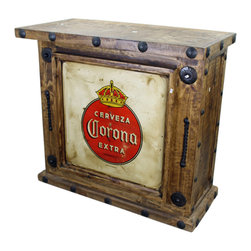 Old World Corona Mini Bar - This Old World Corona Mini Bar is made out of recycled wood and comes direct from Mexico. Forged Iron Accents adorn this hand crafted beauty. Hand made and hand finished. Goes great with any Southwestern Decor, Rustic Decor, Hacienda Design Style or Mexican Themed Furniture Design Style. You will not be disappointed. Please note that long wait times could be possible if this item is not in stock at the time of order.