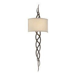 Troy Lighting - Troy Lighting B3462 Tattoo 2 Light ADA Compliant Flush Mount Wall Sconce - Introducing a tattoo everyone will admire: the Tattoo 2-Light Flush Mount Wall Sconce from Troy Lighting transforms hand-forged wrought-iron into lush vine-like tendrils, intertwined in a tribal-inspired pattern. The fixture�s rustic beauty is counterbalanced by a half-cylinder shade of hardback linen, which casts wide, ambient illumination. At 36 inches in height, it makes a bold statement, yet its ADA-compliant design leaves your floor space free. Cottage Bronze finish. Accommodates two E12 Candelabra Edison Screw (CES) lamps, which are available in a complete range of options, from incandescent to energy-efficient.Product Features: