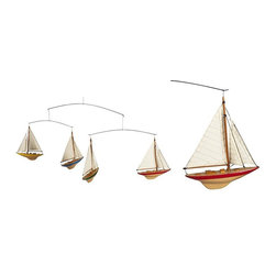"AM Mobile Set Of Four J Yacht Ships - Four colored J-Yacht miniatures made of solid wood and cotton sails. Gift boxed. Dimensions: 36.5 x 1.5 x 12.5""."