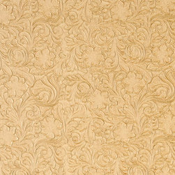Butter Yellow Tooled Floral Designed Upholstery Faux Leather By The Yard - This material is great for automotive, commercial and residential upholstery. It is very easy to clean with mild soap and water.