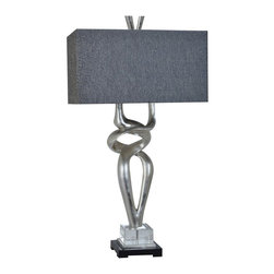 """Coventry Table Lamp, Set of 2 - Coventry Table Lamp 37""""Ht.,Resin Silver Leaf Finish 20/11 x 20/11 x 10.5 Charcolle Linen Shade"""