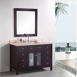 """Design Element - Design Element Venetian 48"""" Single Sink Bathroom Vanity - Espresso - The Venetial 48"""" vanity set combines a classic feel with modern simplicity through its warm color palette, round handles, and crisp lines. The fully-assembled cabinet features solid oak construction for both the frame and the panels, with the panels given a water-resistant treatment for maximum longevity. Seated at the base of the ceramic sink is a chrome-finished pop-up drain designed for easy one-touch draining. Practicality was not compromised, as this vanity includes eight functional drawers and one double-door soft-closing cabinet, all of which have been accented with satin nickel hardware. A mirror and faucet are not included with this model. Features: Solid Oak Wood constructionBeige natural marble countertopRectangular undermount sinkPolished chrome pop up drainEight Functinoal Drawers and One Double Door CabinetSoft closing cabinet door ensures you never hear door slam againManufacturer provides 1 year warrantyMirror not included and not available to purchaseFaucet(s) not included48""""W x 22""""D x 34""""H How to handle your counter Natural stone like marble and granite, while otherwise durable, are vulnerable to staining from hair dye, ink, tea, coffee, oily materials such as hand cream or milk, and can be etched by acidic substances such as alcohol and soft drinks. Please protect your countertop and/or sink by avoiding contact with these substances. For more information, please review our """"Marble & Granite Care"""" guide."""