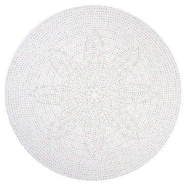 """Huddleson Linens - Multicolor Dot Round Linen Tablecloth, 68"""" Round - Fresh, artistic round linen tablecloth features multicolored polka dots on a white background.  The dots form a subtle flower motif creating a truly unique piece of art designed for your table.  The exquisite color selection creates a joyful ambience without ever overpowering.  100% Italian linen. Machine washable."""