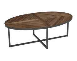 Magnussen - Magnussen Lakeside Oval Cocktail Table in Natural Sienna - Magnussen - Coffee Tables - T230347 - Inculcate a contemporary feel in your home with this cocktail table from the impressive Lakeside collection. It has an oval shape and slab panel design. The natural sienna finish and oxidized metal lend more luster to its look. It has a natural patina showcasing nail holes, dips, natural imperfections and blemishes defining its unique character. The reclaimed solid timbers recycled from old buildings, metal rods and tubes adds to the character of the table.