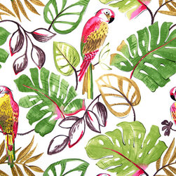 Parrot fabric retro funky pink tropical, Standard Cut - A parrot fabric. A bright and busy retro fabric with funky parrots!