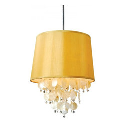 Drum Linen Shade With Clear Crystal Drips Chandelier Pendant - Drum Linen Shade With Clear Crystal Drips Pendant Ceiling Lighting.Tappered drum shape textured linen shade,yellow ,ivory nature shell combinated with the drips of the clear crystal