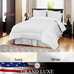 Veratex - Grand Luxe Egyptian Cotton Sateen 1200 Thread Count 4-piece Comforter Set - Enjoy the luxury of this four-piece comforter set as you sleep. The set includes a comforter, a bedskirt and two shams so you have all you need for a makeover, and everything is made from 100 percent cotton so you're sure to get a great night's rest.
