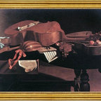 "Evaristo Baschenis-16""x24"" Framed Canvas - 16"" x 24"" Evaristo Baschenis Musical Instruments framed premium canvas print reproduced to meet museum quality standards. Our museum quality canvas prints are produced using high-precision print technology for a more accurate reproduction printed on high quality canvas with fade-resistant, archival inks. Our progressive business model allows us to offer works of art to you at the best wholesale pricing, significantly less than art gallery prices, affordable to all. This artwork is hand stretched onto wooden stretcher bars, then mounted into our 3"" wide gold finish frame with black panel by one of our expert framers. Our framed canvas print comes with hardware, ready to hang on your wall.  We present a comprehensive collection of exceptional canvas art reproductions by Evaristo Baschenis."