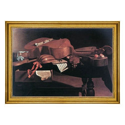 """Evaristo Baschenis-16""""x24"""" Framed Canvas - 16"""" x 24"""" Evaristo Baschenis Musical Instruments framed premium canvas print reproduced to meet museum quality standards. Our museum quality canvas prints are produced using high-precision print technology for a more accurate reproduction printed on high quality canvas with fade-resistant, archival inks. Our progressive business model allows us to offer works of art to you at the best wholesale pricing, significantly less than art gallery prices, affordable to all. This artwork is hand stretched onto wooden stretcher bars, then mounted into our 3"""" wide gold finish frame with black panel by one of our expert framers. Our framed canvas print comes with hardware, ready to hang on your wall.  We present a comprehensive collection of exceptional canvas art reproductions by Evaristo Baschenis."""