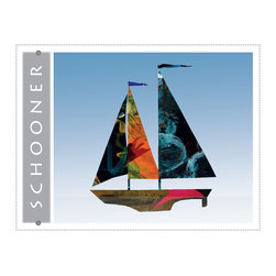 Schooner sailboat giclee art print for home, office, childrens or nursery decor - Schooner Sailboat giclee art print. Nautical colorful sail boat art decor for beach home, blue wall art print from colorful painted paper collage artwork gradient blue sky background for home, office, bueiness childrens room or nursery decor. Great gift for sailors!
