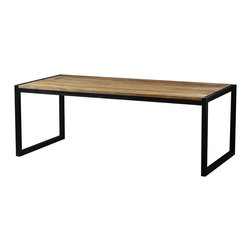 "Artemano - Delia Rectangular Table Made of Mango Wood, 83"" L X 39"" W X 30"" H - The Delia rectangular dining room table is a contemporary, slightly masculine design, available in three sizes. It is constructed of an intricate mango wood and mounted on a square, metal frame. Mango wood is a dense timber that displays stunning color properties; its beautiful grain is often made of many different colors and tones. Match it with other pieces in the Delia collection!"