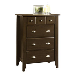 Sauder - Sauder Shoal Creek 4-Drawer Chest in Jamocha Wood - Sauder - Chests - 409714 - Contemporary meets rustic in this 4-drawer Dresser from the Sauder Shoal Creek collection. Drawers feature metal runners and safety stops, allowing you to use this in even the busiest of households. The assembly couldn't be easier with the patented T-slot drawer assembly system. As an added bonus, the interlocking safety mechanism allows for only one drawer to be open at a time. Finished in a beautiful Jamocha Wood, there is no doubt that this dresser will be a staple in your child's bedroom, master bedroom, or guest room for years to come.