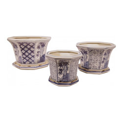 "n/a - 8"" Octagonal Set Of Three Oriental Porcelain Blue and White Planters - Our blue and white porcelain set of three planters are painted in rich cobalt blue with Asian arabesque and bamboo floral. Unique painted panels adorn this unusual octagonal shaped flower planter. Makes a great gift at a great price."