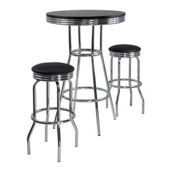 """Winsomewood - Summit 3-Piece Pub Table Set, Includes 2 Swivel Stool - 3-piece summit retro pub table has a polished metal frame and legs with black composite wood top. The table top is 30"""" diameter to accommodate dinner plates , beverage ware and condiments. At 40.55"""" high, the matching swivel barstools are a perfect compliment for the table. MDF table top, metal frame and base. Faux leather stool seat. Ready to assemble."""