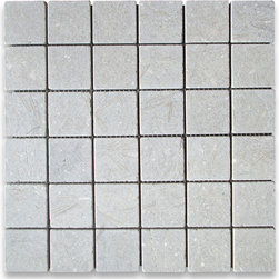 "Stone Center Corp - Seagrass Limestone Square Mosaic Tile 2x2 Tumbled - Seagrass Limestone 2x2"" square pieces mounted on 12""x12"" sturdy mesh tile sheet"
