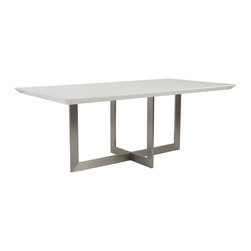 Eurostyle - Euro Style Tosca Collection Tosca Dining Table in White/Stainless Steel - Tosca Dining Table in White/Stainless Steel in the Tosca Collection by Eurostyle