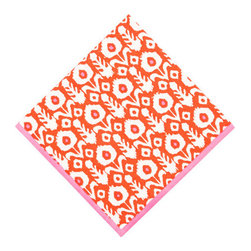 Origin Crafts - Ikat vermillion napkins (set of 4) - Ikat Vermillion Napkins (Set of 4) The print of a thousand compliments... our new Ikat pattern is hand block printed with vibrant reds, perfect for brightening up a fall dinner party. 100% cotton . Machine wash cold, tumble dry low, warm iron as needed. Made in India. Dimensions (in):20x20 By