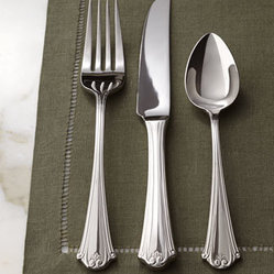 "Lauren Ralph Lauren - Lauren Ralph Lauren Five-Piece ""Mandarin Grove"" Flatware Place Setting - Fan-tip handles accented with delicate scrolls and petite flourishes add texture and interest to this sleek flatware. Simple enough for casual dining, its classic design blends well into more formal settings. Made of 18/10 stainless steel. Dishwasher...."