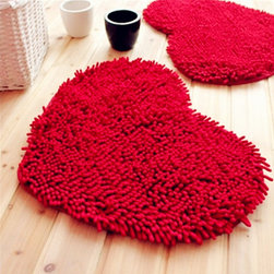 Lovely Heart Pattern Cool Floor Mats Red - Weight:0.4 KGram