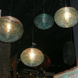 Unique Lighting - Recycled beach glass globe lighting, hand wire wrapped