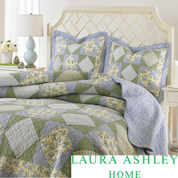 Laura Ashley - Laura Ashley Caroline Reversible Floral 3-piece Quilt Set - The Laura Ashley cotton floral quilt set is great to layer into your bedding as a coverlet or use alone in warm weather. The set includes a quilt and two shams (one sham with twin size).
