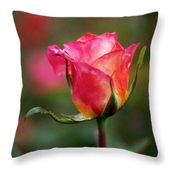 Rosebud Throw Pillow - © Rona Black. http://www.ronablack.com.