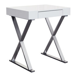 White Line Imports - Elm Small High Gloss White Desk - Offering compact design, along with a striking design and storage space, the Elm small desk by White Line Imports will help you to do your work or tasks in any room of your home. The desk features stainless steel base and high gloss white top with 1 drawer.