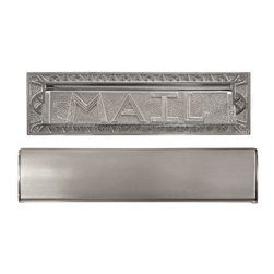 """Heavy Duty """"Mail"""" Letter Slot - This Art Deco-inspired cast brass mail slot comes in 10"""" and 13"""" and in several premium finishes. It features a spring-loaded closure to keep out weather."""