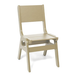 Loll Designs Curve Dining Chair - Sand - The new Alfresco dining chair will help get everything out of the way when your outdoor dinner party turns into an outdoor dance party. Made with a heavy 1 inch thick poly frame, these stackable and durable chairs will never blow away... or shake-off the deck from all the thumping.