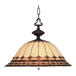 ELK Lighting - ELK Lighting 640-BC Diamond Ring 3 Light Pendants in Burnished Copper - This forever lasting collection fits perfectly in just about every d�cor. The diamond ring pattern features oven-bent panels in hues of honey and amber which are enhanced by an exquisite blend of neutral toned stones and finished in a stately Burnished Copper (BC).