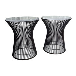 Warren Platner - Pre-owned End Tables By Warren Platner for Knoll - A Pair - This pair of vintage tables is THE iconic round occasional table in a rare bronze plated steel with a 1‰Űť thick Plexiglass top and plastic floor guard, model no. 3710, by Warren Platner for Knoll. American, circa 1966.  Acrylic tops have some scratching, but could be polished out by plastic shop.  Bases are perfecto!