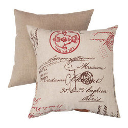 Pillow Perfect - Decorative Linen and Red French Laundry 16.5-Inch Square Toss Pillow - - Cotton-Blend Shell  - 100% Virgin Recycled Polyester Fill  - Textured Coordinating Solid Reverse, Sewn Seam Closure  - Spot Clean Only  - Made In USA  -Please note that image shows front and back of pillow. Only one pillow is being sold. Pillow Perfect - 430898
