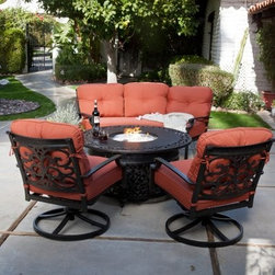 Belham Living Palazetto San Miguel Cast Aluminum Sofa Set with Fire Pit - Gather your friends and family outdoors with the lovely Palazetto San Miguel Cast Aluminum Sofa Set with Fire Pit- Seats 5. This elegant yet effortless conversation set is perfect for any patio deck or outdoor space and the household of talkative people. The beautiful scrollwork furniture is constructed from durable cast aluminum to ensure longevity of use. Two comfortable swivel rocker chairs and the three-person half moon sofa are fitted with plush dyed olefin cushions which withstand weather damage better than traditional polyester. Center the beautiful chat fire pit for a conversation set that magnetically brings your friends and family toward the warmth of carefree relaxation. Complete with a gas burner component kit this fire pit features a table surface to rest your snacks and drinks on or even to kick your feet back while enjoying the company of your loved ones. Additional Information: Sofa Dimensions: 72L x 38W x 34H inches Chair Dimensions: 33.5L x 29.25W x 34H Fire Pit Dimesions: 48L x 48W x 22H inches About Alfresco HomeOffering a wide selection of fashionable products from casual furniture and garden lighting to permanent botanicals and seasonal decor Alfresco Home casual living products offer a complete line of interior and exterior living furnishings and accents. Based out of King of Prussia Penn. Alfresco Home continues to blend indoor and outdoor furniture to make a lifestyle of alfresco living inside and outside of the home. Inlaid mosaic tabletops fine hardwood furnishings artisan-inspired accents premium silk botanicals and all-weather wicker sets are just a few examples of the kind of treasures you'll find in Alfresco's specially designed collections.