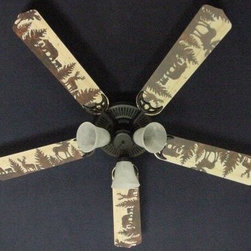Ceiling Fan Designers Bear Moose Deer Indoor Ceiling Fan - With its rustic wood grain lodge look, the Ceiling Fan Designers Bear Moose Deer Indoor Ceiling Fan is ideal for the cabin, man cave, or hunting lodge. It has silhouettes of bear, moose, and deer and is well-built to last. This ceiling fan and light kit combo comes in your choice of size: 42-inch with 4 blades or 52-inch with 5. The blades are reversible so the rustic design can be flipped over to classic white. Now that's versatile! It has a powerful yet quiet 120-volt, 3-speed motor with easy switch for year-round comfort. The 42-inch fan includes a schoolhouse-style white glass shade and requires one 60-watt candelabra bulb (not included). The 52-inch fan has three alabaster glass shades and requires three 60-watt candelabra bulbs (included). Your ceiling fan includes a 15- to 30-year manufacturer's warranty (based on size).