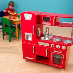 KidKraft Red Retro Vintage Kitchen | All Modern Baby - Smooth and streamlined, this modern styling of a retro kitchen invites nostalgia with and updated umph. Your little chefs will love cooking up something yummy, and you'll love that they're getting used to the idea of doing the dishes.