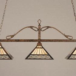 Toltec Lighting - Bronze Finish 3 Light Square Bar with Greek Key Glass - 3 medium base 150 watt bulb(s) (not included).