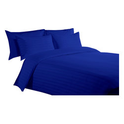"""300 TC 15"""" Deep Pocket Sheet Set with Duvet Set Striped Egyptian Blue, Twin - You are buying 1 Flat Sheet (66 x 96 Inches), 1 Fitted Sheet (39 x 80 inches), 1 Duvet Cover (68 x 90 Inches) and 4 Standard Size Pillowcases (20 x 30 inches) only."""